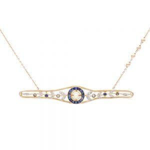 Collier Or Jaune - bijou ancien - saphirs diamants perles