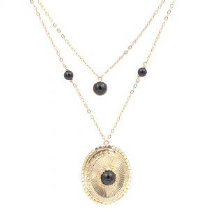 Collier Or Jaune - bijou ancien - onyx -médaille