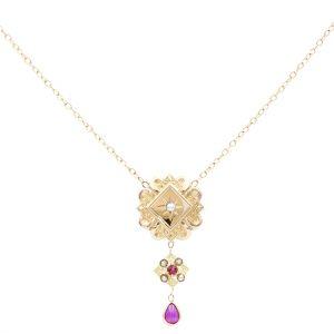 Collier Or Jaune - bijou ancien - perles rubis