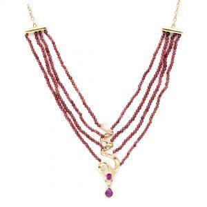 Collier Or Jaune - bijou ancien - serpent - rubis